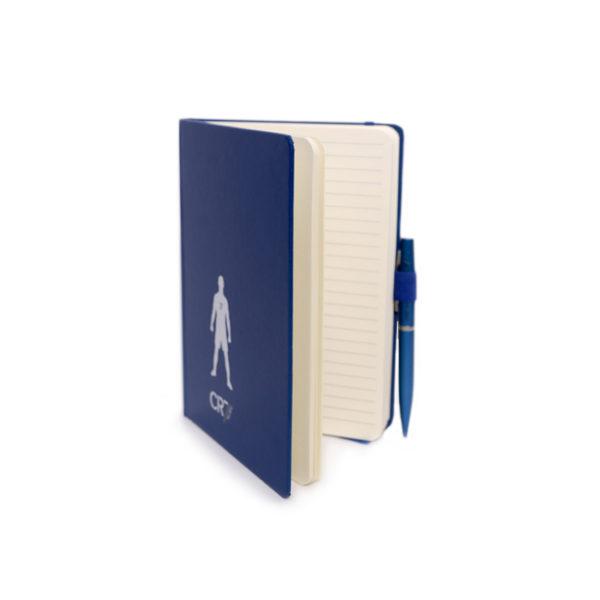 Bloco notas c/caneta azul aberto A5